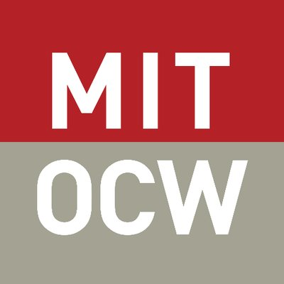 MIT Open CourseWare Logo - square with red top half with MIT in white text and taupe lower half with OCW in white text