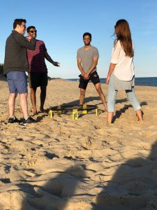 A game of Spike Ball on the beach